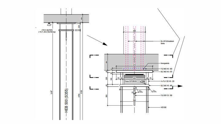 Endress+Hauser Flow - Detail Stahlstütze mit Presse
