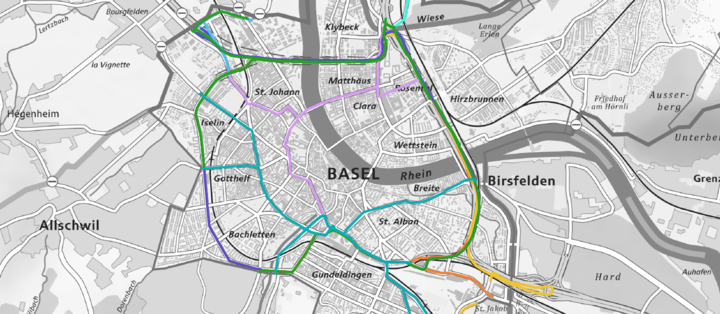 GIS-Routing Wichtige Ziele Basel